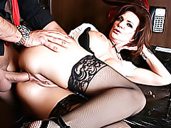 Mom in stockings boned tubes