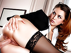 Office hottie in stockings tubes
