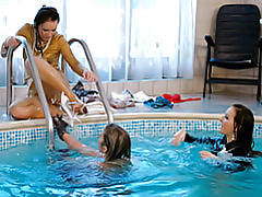 Girls get in pool tubes