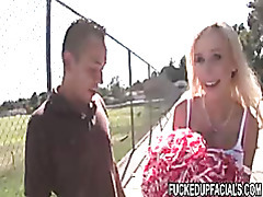 Blonde cheerleader shows her hot package tubes