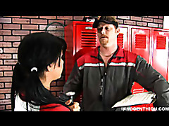 Sexy brunette girl gets fucked by her softball coach tubes