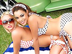 Chicks in polka dot bikinis tubes