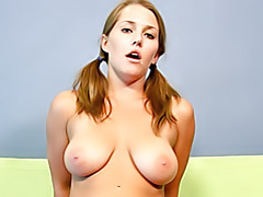 Teen in pigtails tubes
