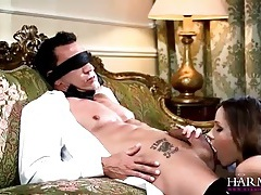 Beauty in black latex lingerie rides him with her ass tubes