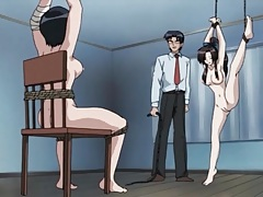 Two hentai girls tied up and fucked by a toy tubes