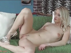 Sexy blonde in pretty panties strips and masturbates tubes