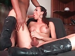 Big tits tgirl in boots blows a guy tubes