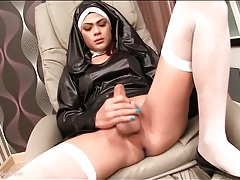Ladyboy in nun outfit sucks cock and strokes tubes