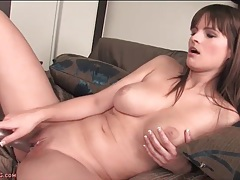 Babe gropes her natural tits and fucks a toy tubes