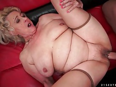 Sucking that granny pussy and fucking her hard tubes