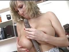 Big natural tits milf masturbates with her toys tubes