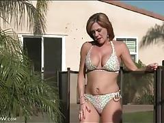 Milf bikini babe tans her tits topless tubes