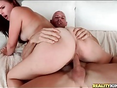 Cutie with a big white ass fucked on top tubes
