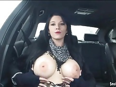 Adrianne black smokes cigarette in car tubes