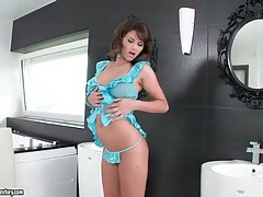 Natural tits on sexy brunette in blue lingerie tubes