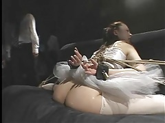 Flexible ballerina tied up and fingered lustily tubes