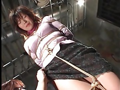 Japanese milf in cardigan tied up tubes