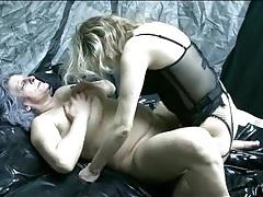 Lesbian in lingerie strapon fucks granny tubes