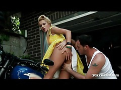 Cherry kiss fucked outdoors in retro dress tubes
