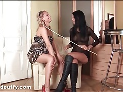 Mistress strips her submissive nude to play tubes