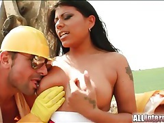 Construction workers double team dirty whore tubes