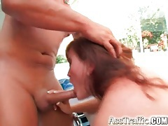 Outdoor gangbang fills all holes of slut tubes