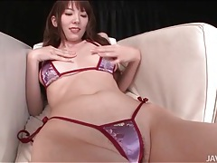 Skimpy satin bikini on masturbating japanese girl tubes