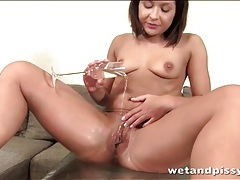 Champagne glass filled with her warm piss tubes