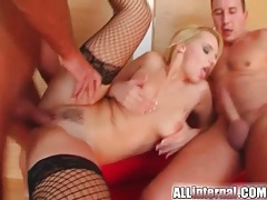 Blonde dressed in sexy fishnets fucked tubes