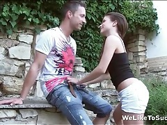 Teen kisses him sensually and sucks his dick tubes