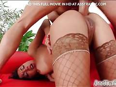 Chick in fishnets gets blistering anal fuck tubes