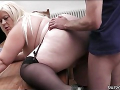 Fat girl in black stockings fucked lustily tubes
