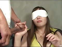 Blindfolded japanese girl groped lustily tubes