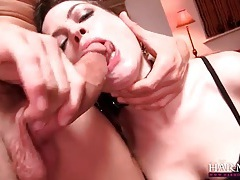 Slave girl in lingerie and collar sucks dicks tubes