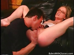 Skinny slut in glasses eaten out and fucked tubes