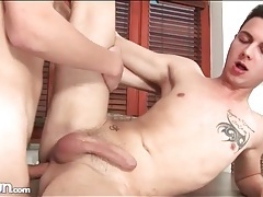 Bareback twink anal sex on dining room table tubes