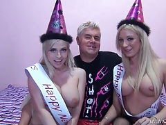 Chicks celebrate the new year by sucking dick tubes