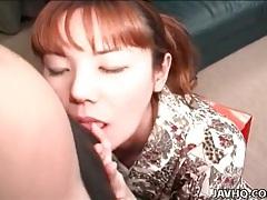 Cocksucker in a kimono tastes his dick tubes