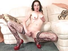 Skinny mature in patterned stockings masturbates tubes