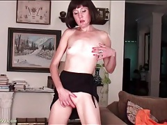 Skinny solo mommy with little tits teases tubes