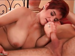 Chubby mature redhead sucks on young man cock tubes