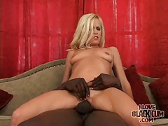Skinny milf sits tight cunt on bbc tubes