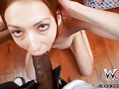 Skinny girl on her knees swallows bbc tubes