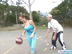 Huge tits teen bouncing on the basketball court tubes