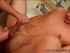 Hot gay cumshot on his tight balls tubes