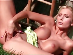 Blonde with big round titties solo outdoors tubes