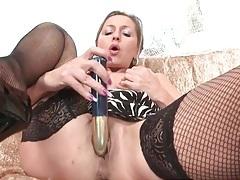 Lean mature babe in black fishnets masturbates tubes