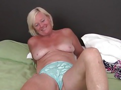 Cute freckled mature blonde masturbates tubes
