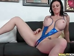 Hot milf with gorgeous fake tits eaten out tubes