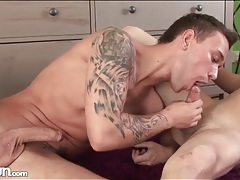 Two young guys are passionate cocksuckers tubes